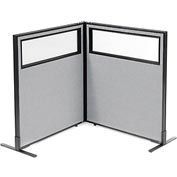 "Freestanding 2-Panel Corner Room Divider with Partial Window, 36-1/4""W x 42""H Panels, Gray"