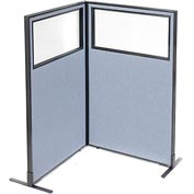 "Interion Freestanding 2-Panel Corner Room Divider with Partial Window, 36-1/4""W x 60""H Panels, Blue"