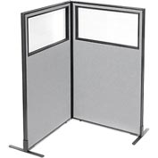 "Interion Freestanding 2-Panel Corner Room Divider with Partial Window, 36-1/4""W x 60""H Panels, Gray"