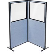 "Freestanding 2-Panel Corner Room Divider with Partial Window, 36-1/4""W x 72""H Panels, Blue"