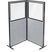 "Interion Freestanding 2-Panel Corner Room Divider with Partial Window, 36-1/4""W x 72""H Panels, Gray"
