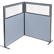 "Freestanding 2-Panel Corner Room Divider with Partial Window, 48-1/4""W x 60""H Panels, Blue"