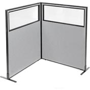 "Interion Freestanding 2-Panel Corner Room Divider with Partial Window, 48-1/4""W x 60""H Panels, Gray"