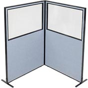 "Freestanding 2-Panel Corner Room Divider with Partial Window, 48-1/4""W x 72""H Panels, Blue"