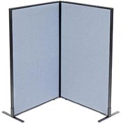 "Freestanding 2-Panel Corner Room Divider, 36-1/4""W x 60""H Panels, Blue"