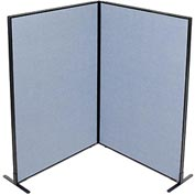 "Interion™ Freestanding 2-Panel Corner Room Divider, 48-1/4""W x 72""H Panels, Blue"