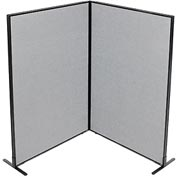 "Interion™ Freestanding 2-Panel Corner Room Divider, 48-1/4""W x 72""H Panels, Gray"