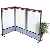"Deluxe Freestanding 3-Panel Corner Room Divider with Full Window, 36-1/4""W x 61-1/2""H, Blue"