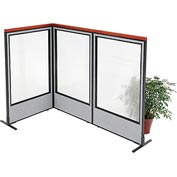 "Deluxe Freestanding 3-Panel Corner Room Divider with Full Window, 36-1/4""W x 61-1/2""H, Gray"