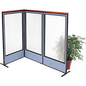 "Interion Deluxe Freestanding 3-Panel Corner Room Divider with Full Window, 36-1/4""W x 73-1/2""H, Blue"