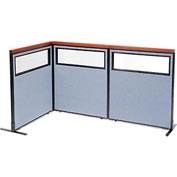 "Interion Deluxe Freestanding 3-Panel Corner Divider with Partial Window, 36-1/4""W x 43-1/2""H, Blue"