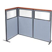 "Deluxe Freestanding 3-Panel Corner Divider with Partial Window, 36-1/4""W x 61-1/2""H, Blue"
