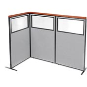 "Deluxe Freestanding 3-Panel Corner Divider with Partial Window, 36-1/4""W x 61-1/2""H, Gray"