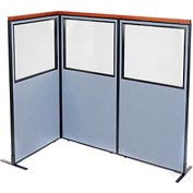 "Deluxe Freestanding 3-Panel Corner Divider with Partial Window, 36-1/4""W x 73-1/2""H, Blue"