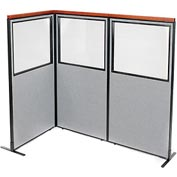 "Deluxe Freestanding 3-Panel Corner Divider with Partial Window, 36-1/4""W x 73-1/2""H, Gray"