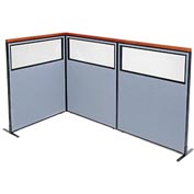 "Interion Deluxe Freestanding 3-Panel Corner Divider with Partial Window, 48-1/4""W x 61-1/2""H, Blue"