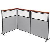 "Deluxe Freestanding 3-Panel Corner Divider with Partial Window, 48-1/4""W x 61-1/2""H, Gray"