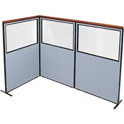 "Interion Deluxe Freestanding 3-Panel Corner Divider with Partial Window, 48-1/4""W x 73-1/2""H, Blue"