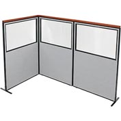 "Deluxe Freestanding 3-Panel Corner Divider with Partial Window, 48-1/4""W x 73-1/2""H, Gray"