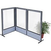 "Freestanding 3-Panel Corner Room Divider with Full Window, 36-1/4""W x 60""H Panels, Blue"