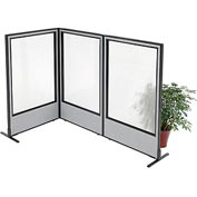 "Interion Freestanding 3-Panel Corner Room Divider with Full Window, 36-1/4""W x 60""H Panels, Gray"