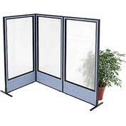 "Interion Freestanding 3-Panel Corner Room Divider with Full Window, 36-1/4""W x 72""H Panels, Blue"