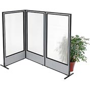 "Interion Freestanding 3-Panel Corner Room Divider with Full Window, 36-1/4""W x 72""H Panels, Gray"