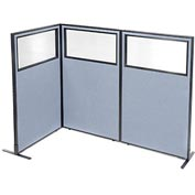 "Freestanding 3-Panel Corner Room Divider with Partial Window, 36-1/4""W x 60""H Panels, Blue"