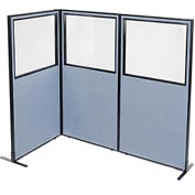 "Interion Freestanding 3-Panel Corner Room Divider with Partial Window, 36-1/4""W x 72""H Panels, Blue"