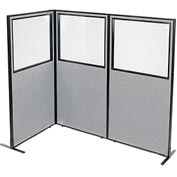 "Interion Freestanding 3-Panel Corner Room Divider with Partial Window, 36-1/4""W x 72""H Panels, Gray"