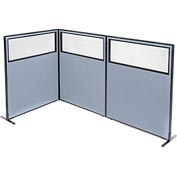 "Freestanding 3-Panel Corner Room Divider with Partial Window, 48-1/4""W x 60""H Panels, Blue"