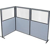 "Freestanding 3-Panel Corner Room Divider with Partial Window, 48-1/4""W x 72""H Panels, Blue"