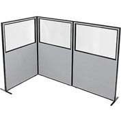 "Freestanding 3-Panel Corner Room Divider with Partial Window, 48-1/4""W x 72""H Panels, Gray"
