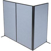 "Interion™ Freestanding 3-Panel Corner Room Divider, 36-1/4""W x 72""H Panels, Blue"