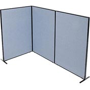 "Interion™ Freestanding 3-Panel Corner Room Divider, 48-1/4""W x 72""H Panels, Blue"