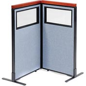 "Interion Deluxe Freestanding 2-Panel Corner Divider with Partial Window, 24-1/4""W x 43-1/2""H, Blue"