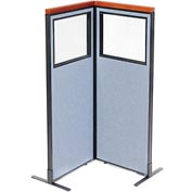"Interion Deluxe Freestanding 2-Panel Corner Divider with Partial Window, 24-1/4""W x 61-1/2""H, Blue"