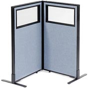 "Interion Freestanding 2-Panel Corner Room Divider with Partial Window, 24-1/4""W x 42""H Panels, Blue"