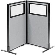 "Interion Freestanding 2-Panel Corner Room Divider with Partial Window, 24-1/4""W x 42""H Panels, Gray"