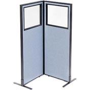 "Freestanding 2-Panel Corner Room Divider with Partial Window, 24-1/4""W x 60""H Panels, Blue"
