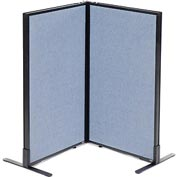 "Interion™ Freestanding 2-Panel Corner Room Divider, 24-1/4""W x 42""H Panels, Blue"