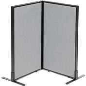 "Interion™ Freestanding 2-Panel Corner Room Divider, 24-1/4""W x 42""H Panels, Gray"