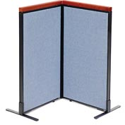"Interion™ Deluxe Freestanding 2-Panel Corner Room Divider, 24-1/4""W x 43-1/2""H Panels, Blue"