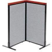 "Interion™ Deluxe Freestanding 2-Panel Corner Room Divider, 24-1/4""W x 43-1/2""H Panels, Gray"