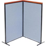 "Interion™ Deluxe Freestanding 2-Panel Corner Room Divider, 36-1/4""W x 61-1/2""H Panels, Blue"