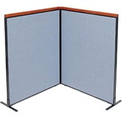"Interion™ Deluxe Freestanding 2-Panel Corner Room Divider, 48-1/4""W x 61-1/2""H Panels, Blue"