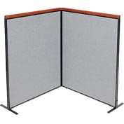 "Interion™ Deluxe Freestanding 2-Panel Corner Room Divider, 48-1/4""W x 61-1/2""H Panels, Gray"