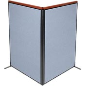 "Deluxe Freestanding 2-Panel Corner Room Divider, 48-1/4""W x 73-1/2""H Panels, Blue"