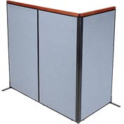 "Deluxe Freestanding 3-Panel Corner Room Divider, 36-1/4""W x 73-1/2""H Panels, Blue"