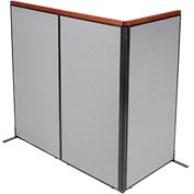 "Interion™ Deluxe Freestanding 3-Panel Corner Room Divider, 36-1/4""W x 73-1/2""H Panels, Gray"